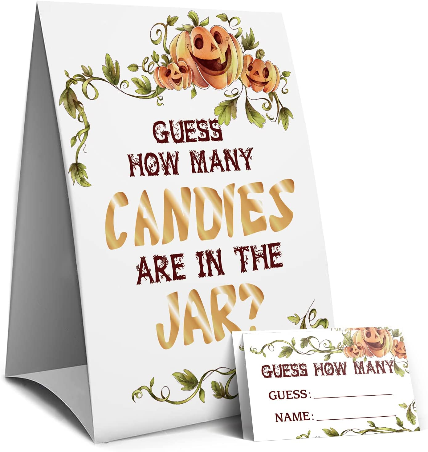 Pumpkin Guess How Many Candies Are In The Jar, Halloween Candies Guessing Game, Baby Shower Game Sign, Bridal Shower Game Sign, Birthday Party Games Sign -1 Sign and 50 Guessing Cards(16A)