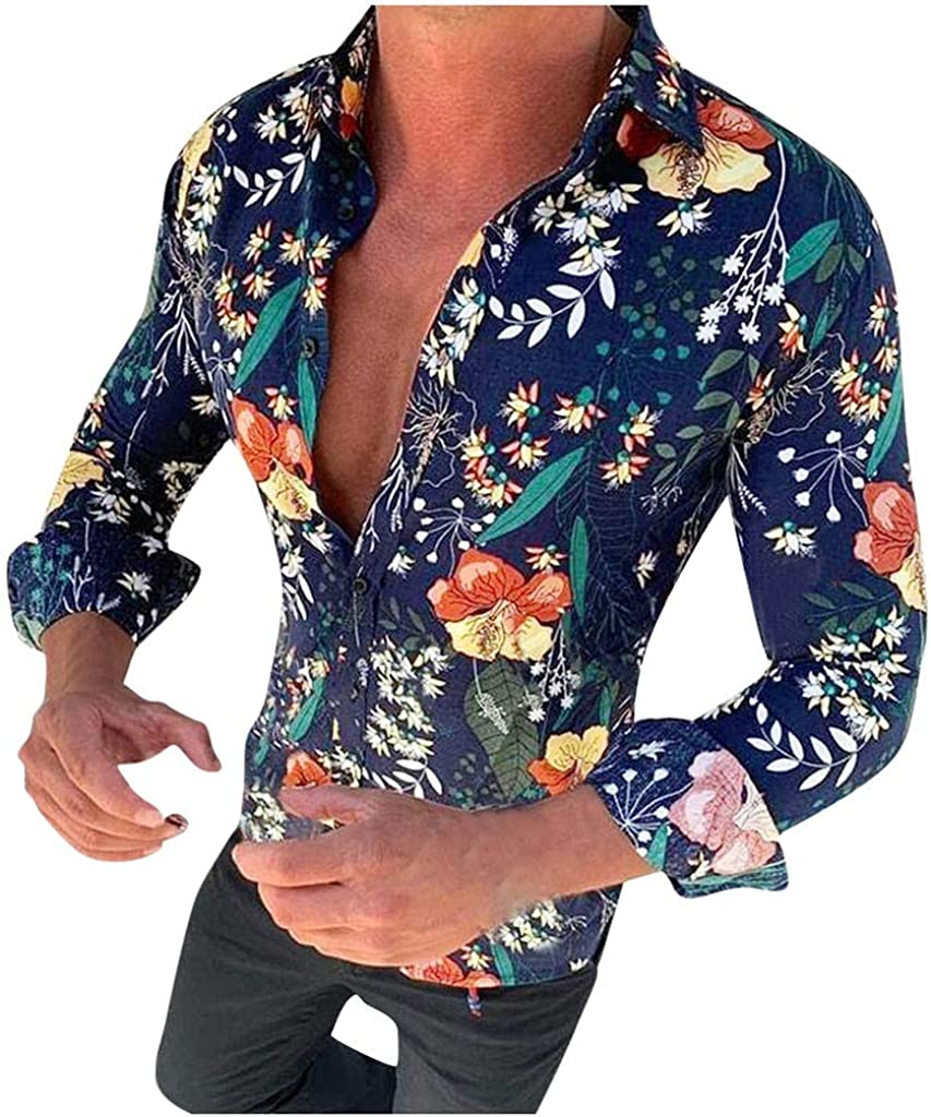 LIUguoo Long Sleeve Blouse for Men, Floral Printed Casual Button Down Shirt Slim Fit Shirt Beachwear Dress Shirt