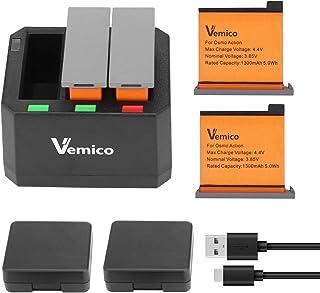 Vemico Osmo action バッテリー LED付き充電器キット 2*1300mAh 互換バッテリー 対応種類 DJI アクションカメラ バッテリー Type-c USB 急速充電器 3 in 1 マルチ チャージャー