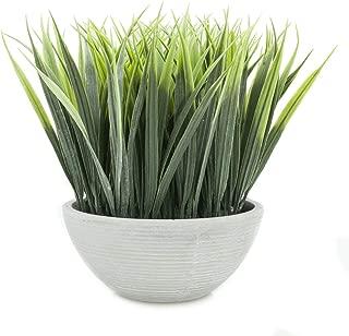 Velener Extra-Long Artificial Grass in White Pot for Home Decor (Green)