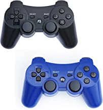 PS3 Controller Wireless 2 Pcs Double Shock Gamepad for Playstation 3, Sixaxis wireless PS3 Controller (Black + Blue)