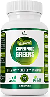 Sponsored Ad - Organic Vegan Super Greens Capsules with Ashwagandha - Immune Support with All Natural Whole Food Nutrients...