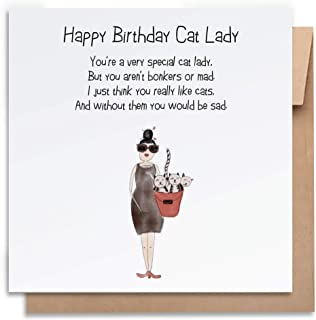 Birthday Card-Cat Lady-with Envelope, Birthday Card Funny Birthday Card Humorous Birthday Card for Her Greeting Card For A...