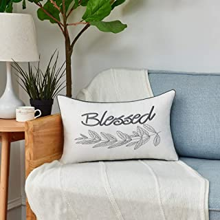 Sunkifover Blessed Throw Pillow Cover 12 X 20 Inch,Embroidery Home Decorative Lumbar Pillow Case Farmhouse Cushion Cover,Housewarming Gifts for New Home's Sofa, Couch, Bed, Grey