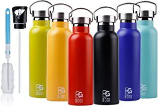BOGI 20oz Double Wall Vacuum Insulated Stainless Steel Water Bottle-Scratch Resistance&Eco-Friendly for Outdoor Sports Yoga Camping+Straw Flip Cap, 2 Straw&Cleaning Brush