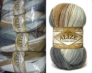 20% Wool 80% Acrylic Soft Yarn Alize Angora Gold Batik Thread Crochet Lace Hand Knitting Turkish Yarn Lot of 4skn 400gr 2408yds Color Gradient 5742