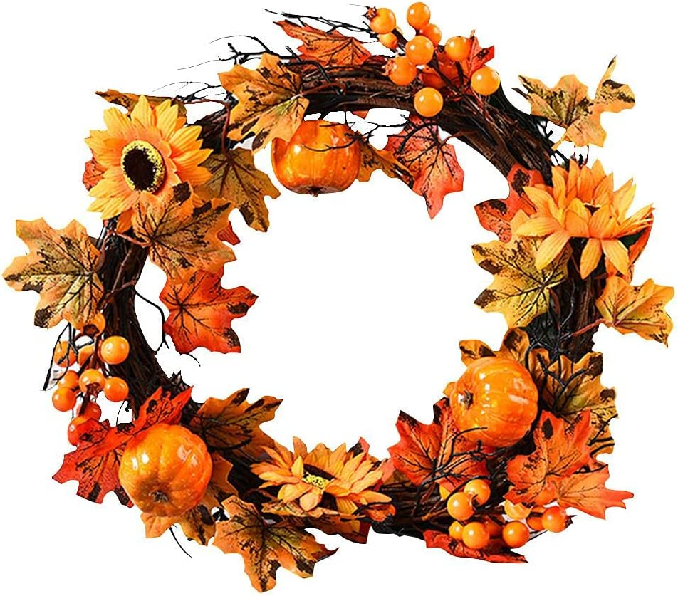 U D Fall Front lowest price trend rank Door Wreath with Artificial 16 Inch Floral