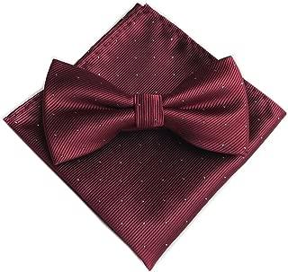 Men's Micro Polka Dots Wedding Party Pre-tied Bow Tie Pocket Square Set