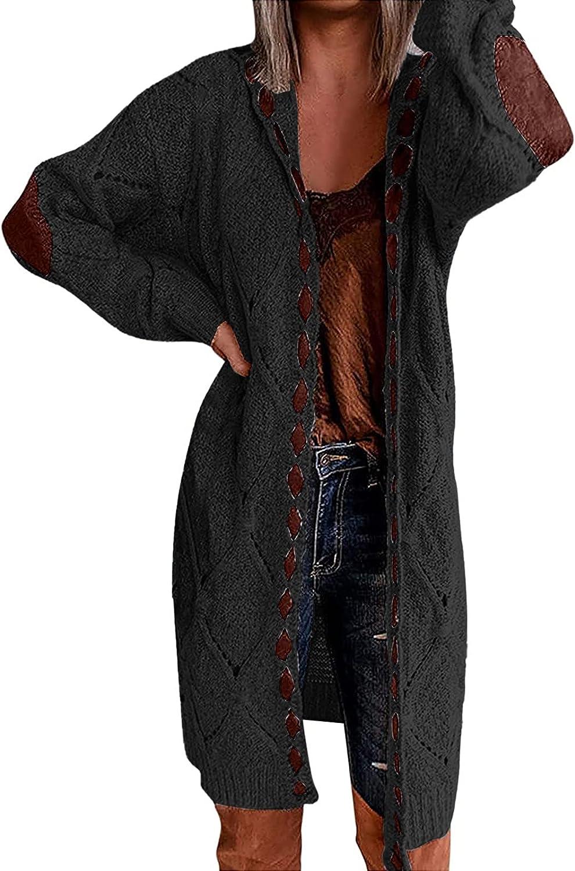Women Plus Size Cardigan Long Open Front Chunky Knit Sweaters Long Sleeve Outerwear Coat