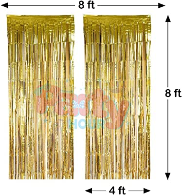 Party Hour Metallic Shimmer Fringe Golden Foil Curtain for Wedding, Happy Birthday, Anniversary, Christmas,Bachlorette Decorations Props Propz ( 4 Feet X 8 Feet)- Set of 2