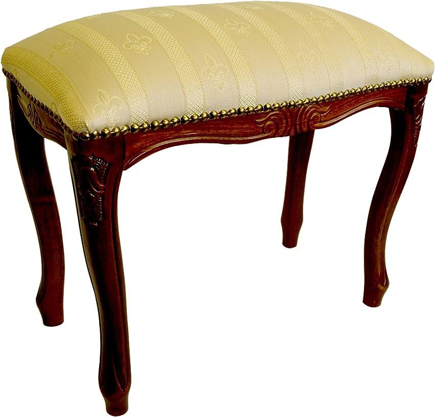 乱用対応する材料ロイヤルアーデン 椅子 スツール S 43.5cm オフホワイトストライプ/ブラウン 51352