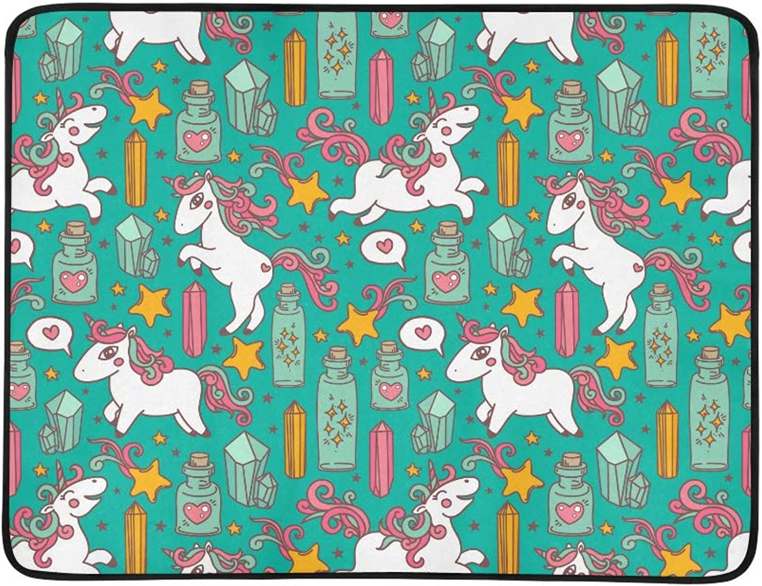 Cute Unicorns Magic Crystals and Flasks Pattern Pattern Portable and Foldable Blanket Mat 60x78 Inch Handy Mat for Camping Picnic Beach Indoor Outdoor Travel