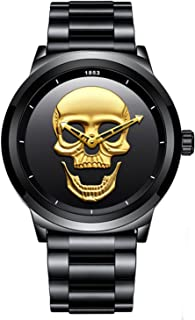 Men Fashion Sport Quartz Cool Punk 3D Skeleton Skull Dial Waterproof Mens Watches Hollow Pointer Steel Strap Watch