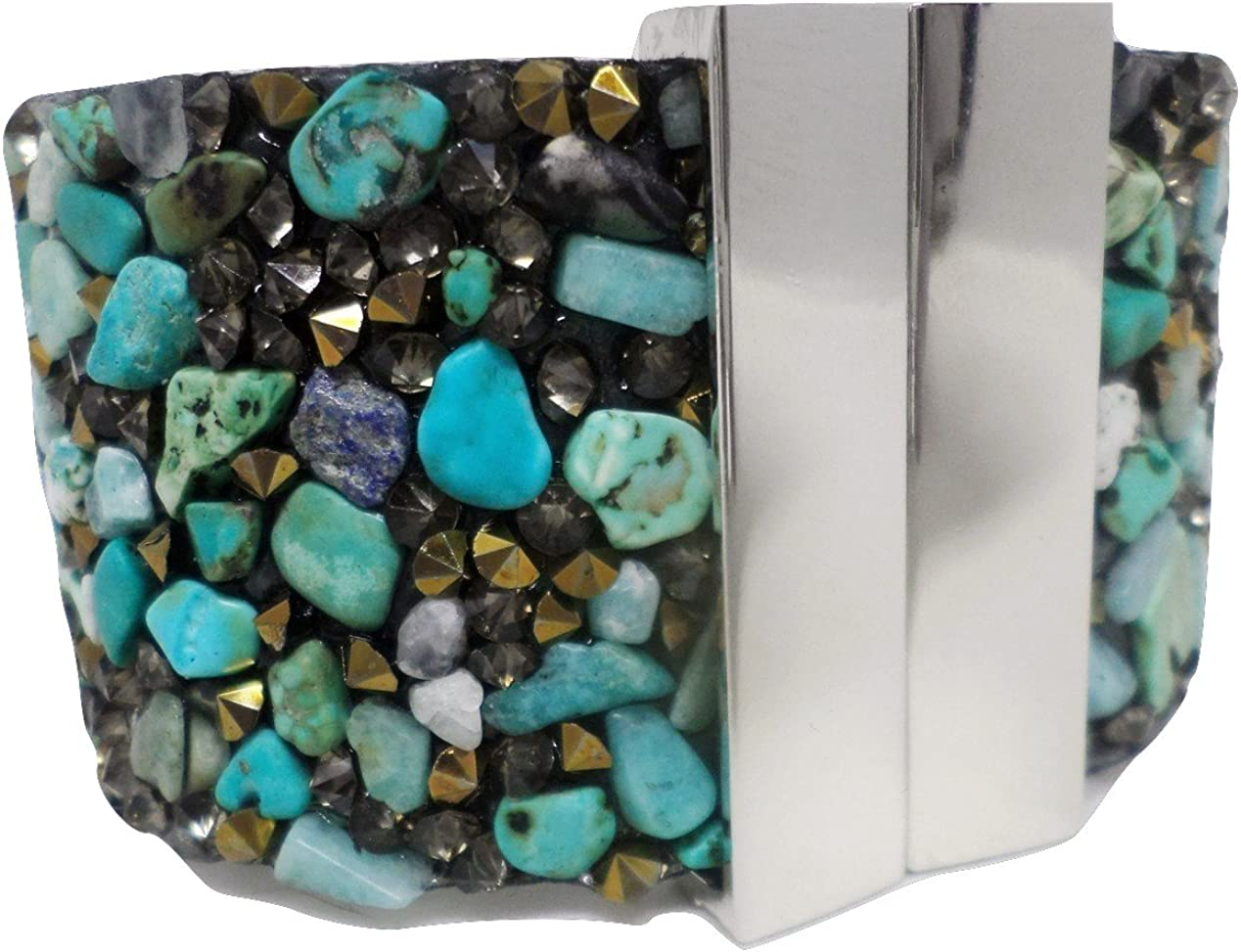 Brilliant Turquoise and Gold Accent Magnetic Cuff Bracelet