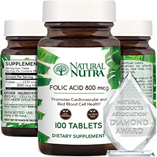 Natural Nutra Premium Folic Acid Folate Vitamin B9 Supplement, Prenatal Vitamin for Heart and Cardiovascula...