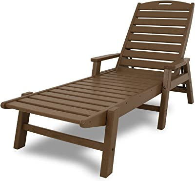 POLYWOOD NCC2280TE Nautical Arms Chaise, Teak