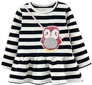 子供ドレス Jopinica ベビーキッズ ストライプ 服 パーティー プリンセスドレス 可愛い ペンギン サッチェル ラウンドネック コットン ロングスリーブ パーティー トップス 新生児服 ミニドレス