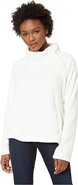 Plush Faux Sherpa Buttoned Funnel Neck Pullover