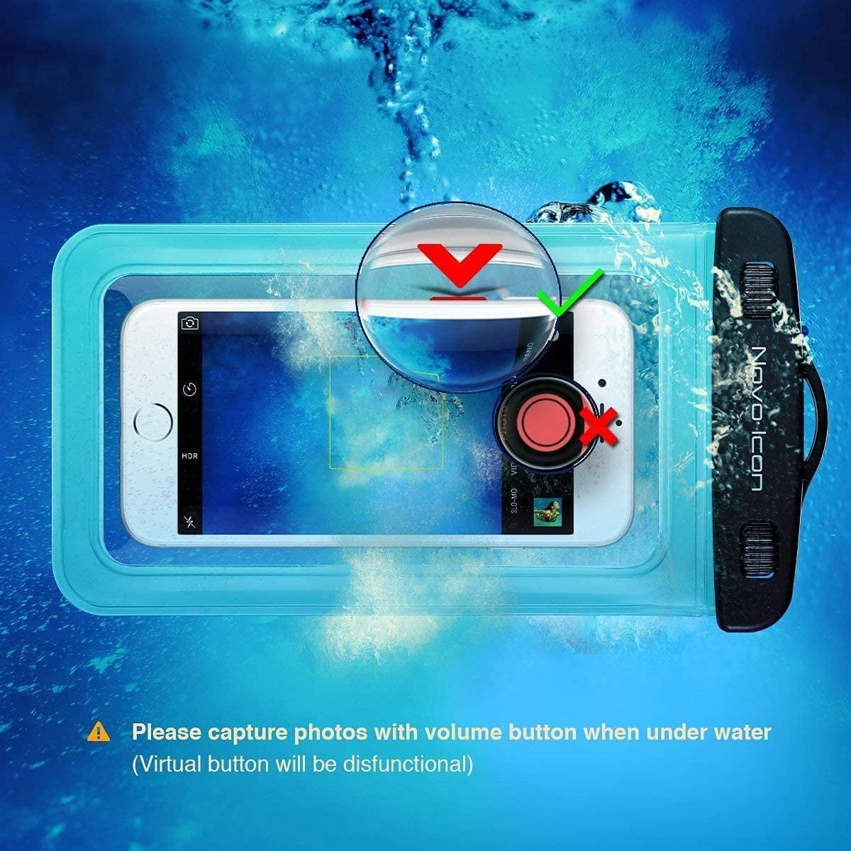 Novo Icon TPU Waterproof Phone Pouch Fully Transparent, IPX8 Cellphone Pouch, Cell Phone Dry Bags, Up to 7'' for iPhone 12 11 Pro Max XS XR X Plus, Galaxy S20+ S10 S9 Note20, (Blue )