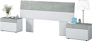 Cabezal + mesitas, Dormitorio, Modelo Tekkan, Acabado en Blanco Artik y Gris Cemento, Medidas: 176 cm (Largo) x 96,5 cm (A...