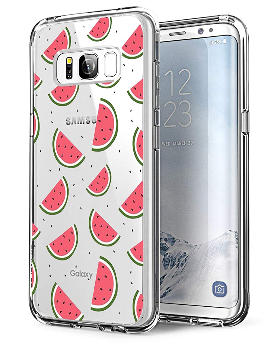 Matop Fit Samsung Galaxy S8 Case, Clear Thin Ultra Design Soft TPU Shockproof Protective Slim Bumper No-Slip Anti-Scratch Pattern Shell Cover Guitar (Watermelon)