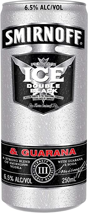 Smirnoff Ice Double Black and Guarana Vodka 250ml Cans (Pack of 24)