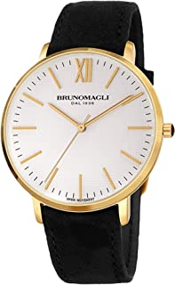 Bruno Magli Women's Roma 1222 Swiss Quartz White Dial with Italian Leather Strap Watch (Black Suede)