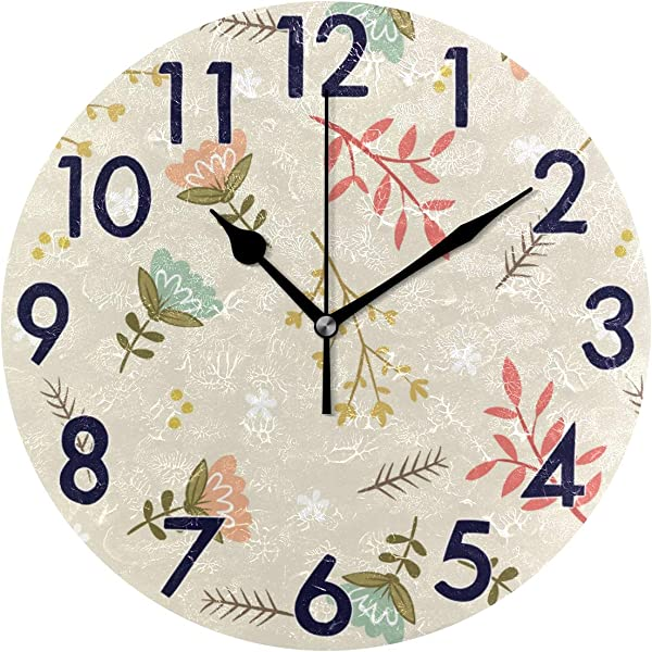 Chic Houses 8 Inch Wall Clock Flower Clock Bathroom Kitchen Wall Clock Non Ticking Quiet Acrylic Creative Decorative For Living Room Bedroom Decor Round Clock 2030464