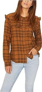 Womens Plaid Button Up Shirt