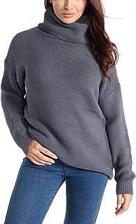 Syrads Mujer Suéter Tipo con Cuello de Tortuga Suelto De Punto Suéter Casual Largo Manga Jerséis Pull-Over para Invierno O...
