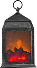 Decorative Fireplace Lantern - Battery Operated USB Operated 6 Super Bright LED'S and 36 Lumen Tabletop Fireplace Lantern Indoor/Outdoor Fireplace Lamp, Black