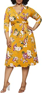 Women's Plus Size 3/4 Sleeve Faux Wrap Floral Dress with Belt
