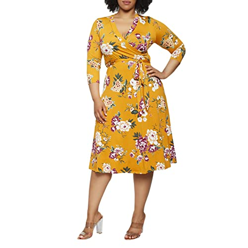 916234c043c Pink Queen Women s Plus Size 3 4 Sleeve Faux Wrap Floral Dress with Belt