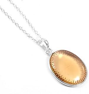 Ratnagarbha Honey Quartz Pendant, Oval Carving Gemstone Pendant, BFF Birthday Gift, Warm Honey Color Pendant, Simple Delic...