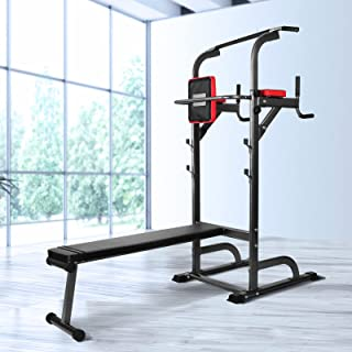 Weight Bench Everfit Multi Station Gym Pull Up Power Tower 8 Workouts Dip Station Foldable Home Multi Gym Machine with Squ...