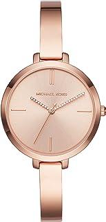 ساعة يد بمينا ذهبي وسوار من الستانلس ستيل للنساء من مايكل كورس، موديل MK3735