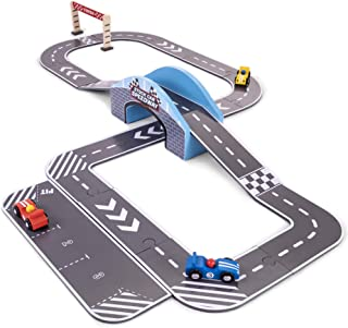 Stock Car Speedway | Wooden Race Track Playset with 3 Colorful Cars, Customizable Track Layouts, & Interlocking Track Pieces | Includes Curves, Ramps, Pit Row, Finish Line, and More! (24 pcs.)