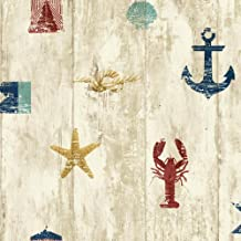 York Wallcoverings Nautical Living Weathered Seashore Removable Wallpaper, Beige/Cream/Red/Navy Blue/Aqua/Gold