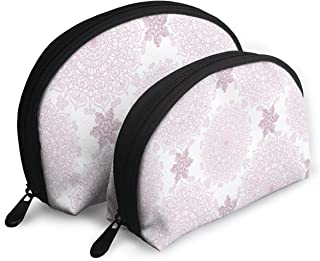 Shell Shape Makeup Bag Set Portable Purse Travel Cosmetic Pouch,Victorian Damask Style Vintage Ethnic Pattern With Rococo Effect Print,Women Toiletry Clutch