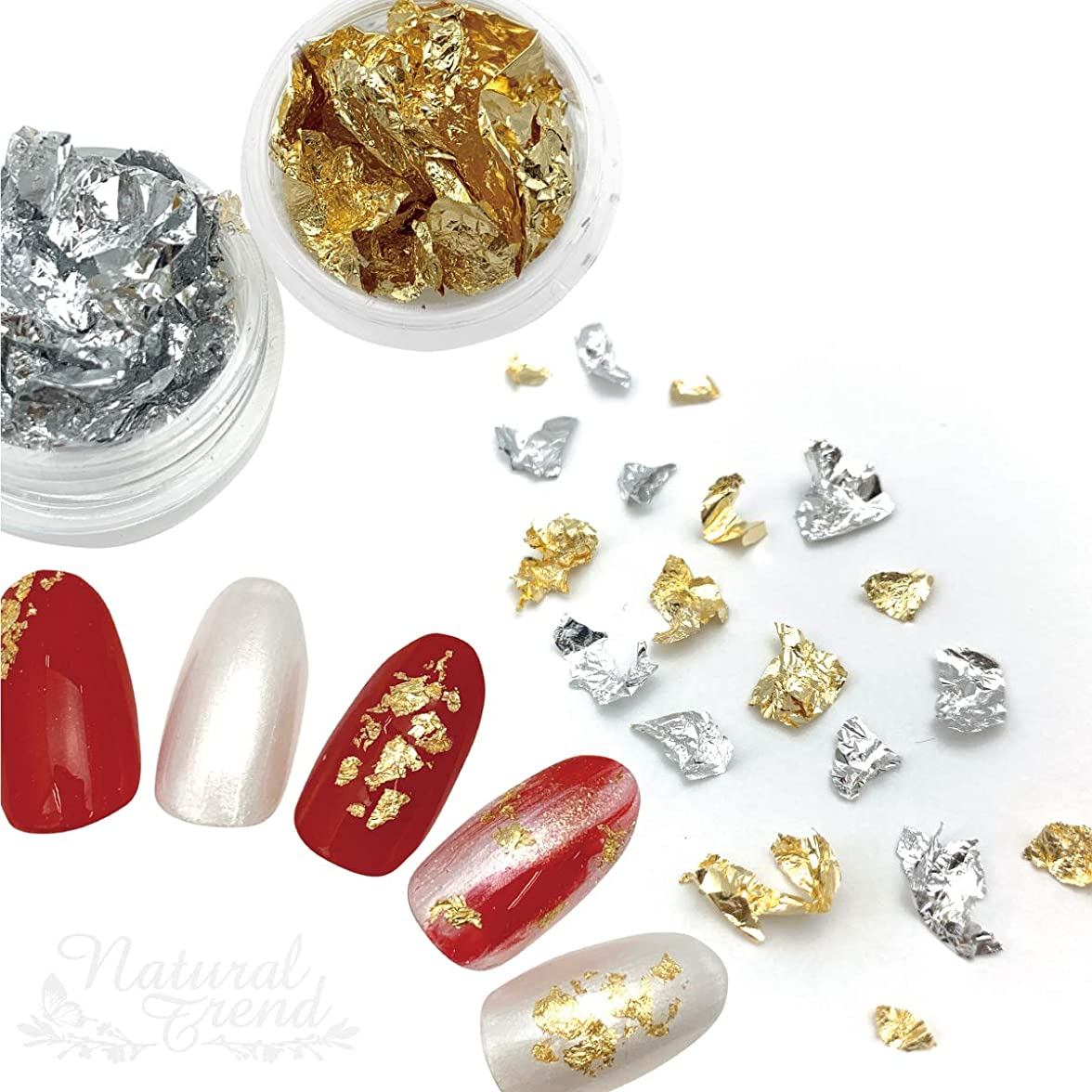 毎月アプローチ植生Natural Trend 金箔 銀箔 ネイルホイル ジェルネイルアート (ゴールドシルバーset)