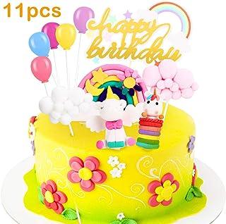 Decoracion Tarta Unicornio, Familybox Decoraciones de Pasteles Unicorn Cake Topper para la Fiesta de Bienvenida bebé cumpleaños niñas Niños 11 Piezas