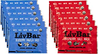 LivBar Organic All Natural Macro Snack Bar - Berry Nice Variety Pack, 12 Count - Healthy & Delicious Non GMO Gluten, Nut, Soy, and Dairy Free Protein Bar with Low Sugar.