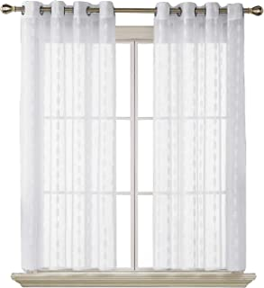 Deconovo Linen Look Sheer Curtains Grommet Top Sheer Drapes Jacquard Woven Sheer Window Curtains Panels for Girls Room 52X63 Inch White 2 Panels