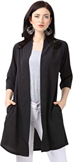 Serein Crepe Solid Black Front Open Long Shrug with Pocket and 3/4 Sleeves for Women