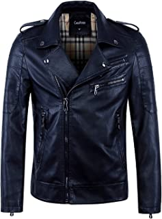 a35284d1 chouyatou Men's Vintage Asymmetric Zip Lightweight Faux Leather Biker Jacket