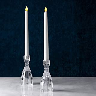 LampLust Glass Taper Candle Holder - 6 Inch Tall, Clear Fluted Glass, Fits Standard 3/4 Inch Candlesticks, for Christmas D...