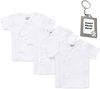Newborn Unisex Basic White Side Snap T-Shirt Baby Undershirt & Tether