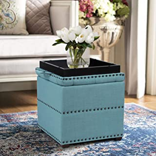 Edeco Storage Ottoman Bench with Tray, Square Foot Stool with Nailhead Trim, Blue