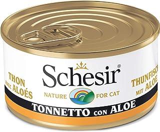 Schesir, Comida húmeda para Gatos Adultos, Sabor bacoreta con áloe en gelatina Blanda - Total 2 kg (24 latas monodosis x 8...