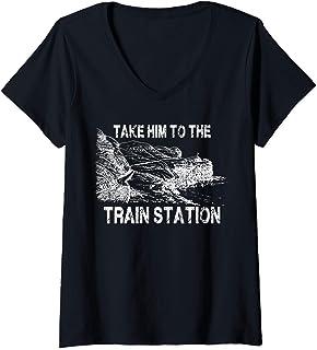 Womens Take Him To The Train Station V-Neck T-Shirt
